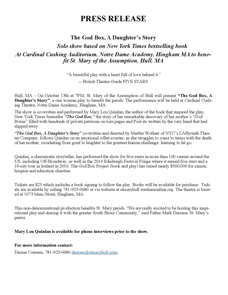 thumbnail of Press Release The God Box Oct 13 Hingham
