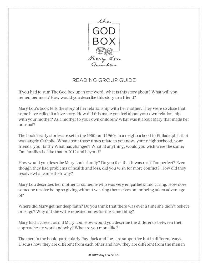 thumbnail of Reading Group Guide-The God Box by Mary Lou Quinlan